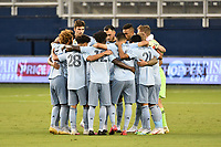 KANSAS CITY, KS - SEPTEMBER 02: Sporting KC players in a pre match huddle during a game between FC Dallas and Sporting Kansas City at Children's Mercy Park on September 02, 2020 in Kansas City, Kansas.