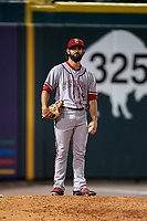 Syracuse Chiefs pitcher Tim Collins (8) in the bullpen during a game against the Buffalo Bisons on July 6, 2018 at Coca-Cola Field in Buffalo, New York.  Buffalo defeated Syracuse 6-4.  (Mike Janes/Four Seam Images)