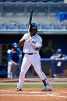 Charlotte Stone Crabs Moises Gomez (21) during a Florida State League game against the Dunedin Blue Jays on April 17, 2019 at Charlotte Sports Park in Port Charlotte, Florida.  Charlotte defeated Dunedin 4-3.  (Mike Janes/Four Seam Images)
