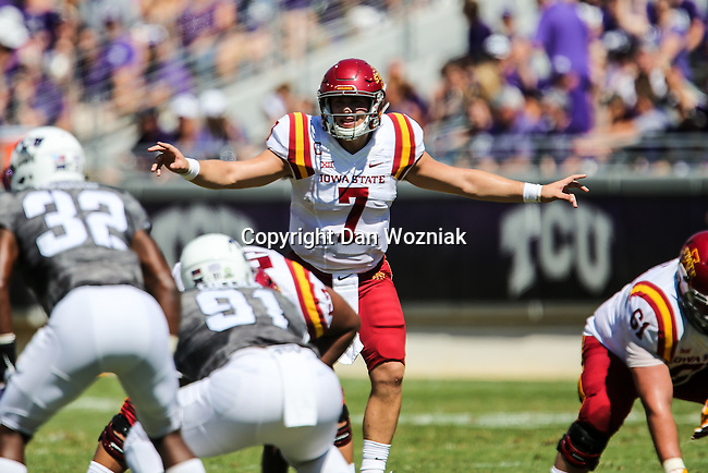 Iowa State Cyclones quarterback Joel Lanning (7) in action during the game between Iowa State Cyclones and the TCU Horned Frogs at the Amon G. Carter Stadium in Fort Worth, Texas.