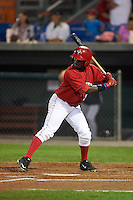 Auburn Doubledays outfielder Telmito Agustin (3) at bat during a game against the Mahoning Valley Scrappers on September 4, 2015 at Falcon Park in Auburn, New York.  Auburn defeated Mahoning Valley 5-1.  (Mike Janes/Four Seam Images)