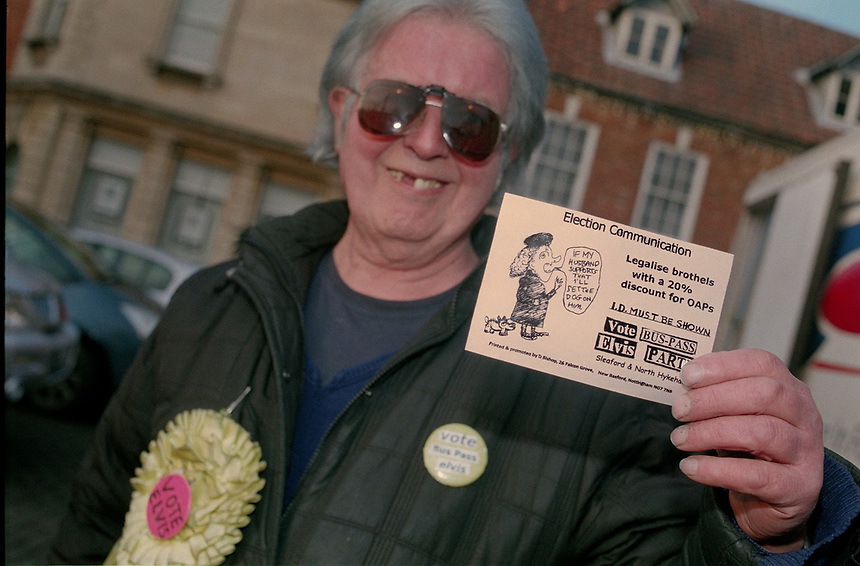Bus Pass Elvis candidate David Bishop with his policy leaflet at the Sleaford By-election, Lincolnshire, UK, 2016.