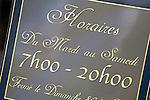 Shop Opening Hours Sign, Paris, France