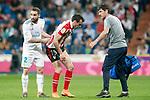Athletic de Bilbao's Inigo Lekue (c) injured in presence of Real Madrid's Daniel Carvajal during La Liga match. April 18,2018. (ALTERPHOTOS/Acero)
