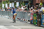 Katerina Nash, Pro Female racer, is the first to cross the finish line for the Pro Women's race during the Epic Rides' Inaugural Carson City Off-Road event on Sunday, June 19, 2016 in Carson City, Nev.<br /> Photo by Kevin Clifford/Nevada Photo Source