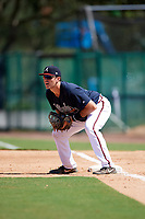 Atlanta Braves Austin Bush (59) holds a runner on during an Instructional League game against the Detroit Tigers on October 10, 2017 at the ESPN Wide World of Sports Complex in Orlando, Florida.  (Mike Janes/Four Seam Images)