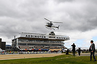 10th November 2020; Christchurch, New Zealand;  Richie McCaw arrives with the NZ Cup and Neil Harton and Jack Marshall (DFC) during the NZ Trotting Cup at Addington Raceway, Christchurch, New Zealand