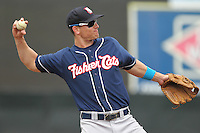 New Hampshire Fisher Cats third baseman Mark Sobolewski #14 throws during a game against the Bowie Baysox at Prince George's Stadium on June 17, 2012 in Bowie, Maryland. New Hampshire defeated Bowie 4-3 in 13 innings. (Brace Hemmelgarn/Four Seam Images)
