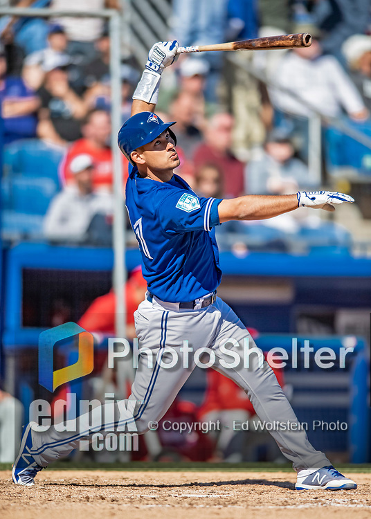 6 March 2019: Toronto Blue Jays catcher Luke Maile in action during a Spring Training game against the Philadelphia Phillies at Dunedin Stadium in Dunedin, Florida. The Blue Jays defeated the Phillies 9-7 in Grapefruit League play. Mandatory Credit: Ed Wolfstein Photo *** RAW (NEF) Image File Available ***