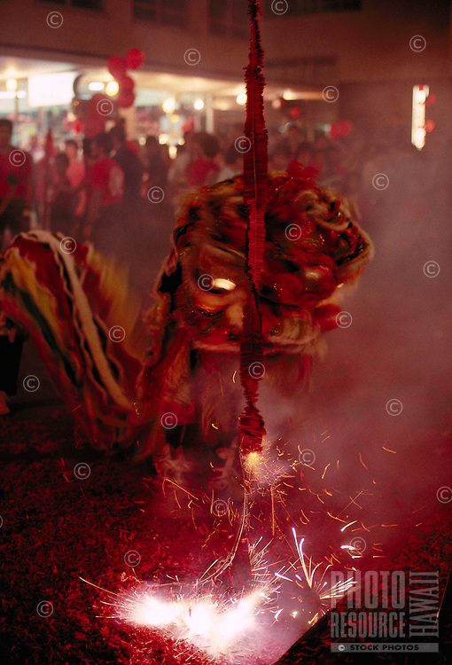 Lion dance, Chinese New Years w/ firecrackers, Oahu