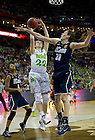 Apr 7, 2013; Madison Cable takes a shot over Connecticut Breanna Stewart during the semifinals of the 2013 NCAA women's basketball Final Four at the New Orleans Arena. Connecticut defeated Notre Dame 83 to 65. Photo by Barbara Johnston/ University of Notre Dame