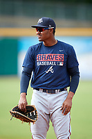 Mississippi Braves Carlos Franco (13) before a game against the Montgomery Biscuits on April 24, 2017 at Montgomery Riverwalk Stadium in Montgomery, Alabama.  Montgomery defeated Mississippi 3-2.  (Mike Janes/Four Seam Images)
