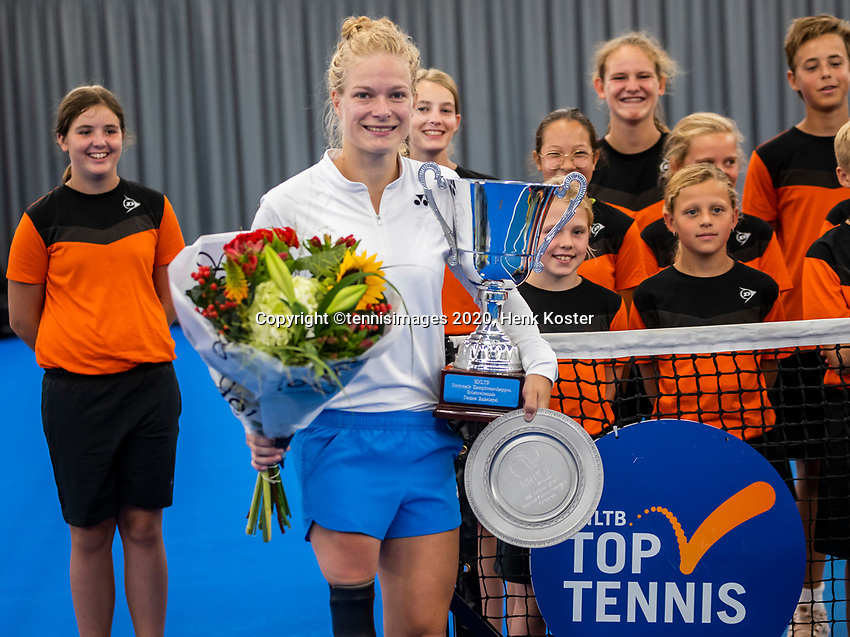 Amstelveen, Netherlands, 22 Augustus, 2020, National Tennis Center, NTC, NKR, National  Wheelchair Tennis Championships, Womans single final : Winner Dide de Groot (NED)  with the trophy<br /> Photo: Henk Koster/tennisimages.com