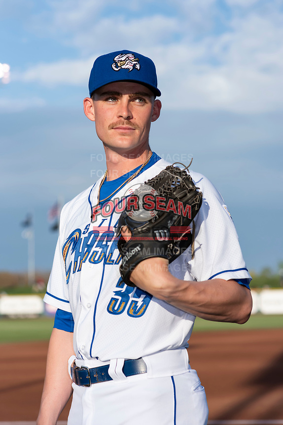Omaha Storm Chasers pitcher Josh Staumont (35) poses for a photo before a Pacific Coast League game against the Memphis Redbirds at Werner Park on April 26, 2019 in Omaha, Nebraska. (Zachary Lucy/Four Seam Images)