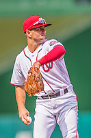 15 June 2016: Washington Nationals shortstop Danny Espinosa warms up prior to a game against the Chicago Cubs at Nationals Park in Washington, DC. The Nationals defeated the Cubs 5-4 in 12 innings to take the rubber match of their 3-game series. Mandatory Credit: Ed Wolfstein Photo *** RAW (NEF) Image File Available ***
