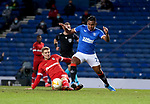 25.02.2021 Rangers v Royal Antwerp: Alfredo Morelos tackled by Maxime Le Marchand