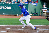Mitchell Hansen (43) of the Ogden Raptors follows through on his swing against the Grand Junction Rockies during the Pioneer League game at Lindquist Field on August 26, 2016 in Ogden, Utah. The Raptors defeated the Rockies 6-5. (Stephen Smith/Four Seam Images)
