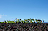 Approaching Keawaiki Bay, north of Kona, Big Island of Hawai'i; this area was covered by a 1859 eruption from Mauna Loa and was the site of a heiau (Hawaiian temple) and ancient Hawaiian settlement.