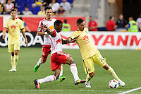 Harrison, NJ - Wednesday July 06, 2016: Devon Williams, Rubens Sambueza during a friendly match between the New York Red Bulls and Club America at Red Bull Arena.
