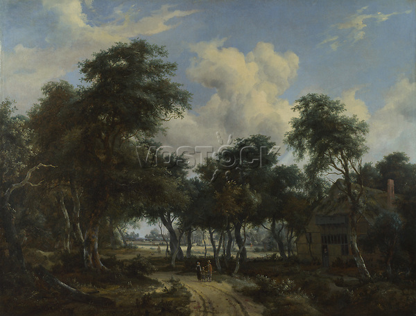 Full title: A Woody Landscape with a Cottage<br /> Artist: Meindert Hobbema<br /> Date made: about 1665<br /> Source: http://www.nationalgalleryimages.co.uk/<br /> Contact: picture.library@nationalgallery.co.uk<br /> <br /> Copyright © The National Gallery, London