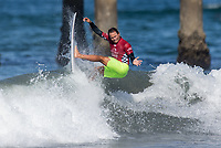 Huntington Beach, CA - Tuesday July 31, 2018: Luel Felipe in action during a World Surf League (WSL) Qualifying Series (QS) Men's round of 96 heat at the 2018 Vans U.S. Open of Surfing on South side of the Huntington Beach pier.