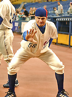"26 May 2002: Montreal Expos pitcher Joey Eischen poses on the sidelines prior to a ""Turn Back the Clock Day"" game against the visiting Philadelphia Phillies at Olympic Stadium in Montreal, Quebec. The Expos, wearing their original circa 1969 uniforms, rallied to defeat the Phillies 6-5. Mandatory Credit: Ed Wolfstein Photo"