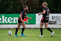 Jarrod Sammut of London Broncos celebrates his try with James Meadows of London Broncos during the Betfred Championship match between London Broncos and Newcastle Thunder at The Rock, Rosslyn Park, London, England on 9 May 2021. Photo by Liam McAvoy.