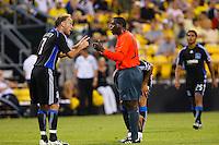 27 MAY 2009: #7 Simon Elliott of the San Jose Earthquakes talks with referee during the San Jose Earthquakes at Columbus Crew MLS game in Columbus, Ohio on May 27, 2009. The Columbus Crew defeated San Jose 2-1