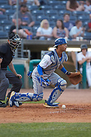 Lexington Legends catcher MJ Melendez (7) blocks a pitch in the dirt during the game against the West Virginia Power at Appalachian Power Park on June 7, 2018 in Charleston, West Virginia. The Power defeated the Legends 5-1. (Brian Westerholt/Four Seam Images)