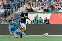FOXBOROUGH, MA - SEPTEMBER 29: Gustavo Bao #7 of New England Revolution eludes Tony Rocha #15 of New York City FC during a game between New York City FC and New England Revolution at Gillette Stadium on September 29, 2019 in Foxborough, Massachusetts.