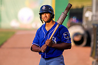 Biloxi Shuckers outfielder Trent Grisham (6) waits on deck during a Southern League game against the Jackson Generals on July 27, 2018 at The Ballpark at Jackson in Jackson, Tennessee. Biloxi defeated Jackson 15-7. (Brad Krause/Four Seam Images)