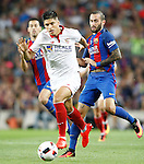 FC Barcelona's Sergio Busquets (l) and Aleix Vidal (r) and Sevilla FC's  Joaquin Correa during Supercup of Spain 2nd match.August 17,2016. (ALTERPHOTOS/Acero)