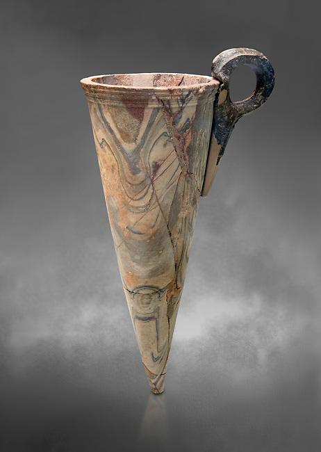 Minoan marble conical rhython, Zakros 1500-1400 BC; Heraklion Archaeological  Museum, grey background.