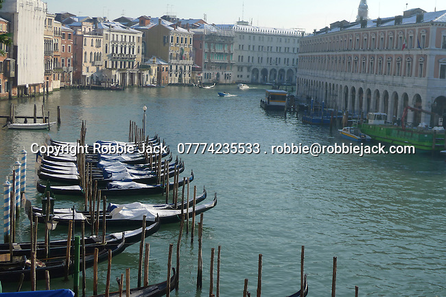 Gondolas on the Grand Canal in Venice, Italy.