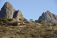 ETHIOPIA, Tigray, highland , Adua, Battle of Adwa was fought on 1 March 1896 between the Ethiopian Empire and Italy, the batttle was lost by the italian army,  rocks / AETHIOPIEN, Tigray, Hochland, Adwa, Adwa wurde durch die Schlacht von Adua 1896 bekannt, in der aethiopische Truppen unter Kaiser Menelik II. eine italienische Armee unter Oreste Baratieri in die Flucht schlugen. Durch diesen Sieg wurde der Versuch Italiens verhindert, Aethiopien als Kolonie zu beherrschen