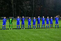 line-up KRC Genk ( Sien Vandersanden (10) , goalkeeper Joséphine Delvaux (1) , Lotte Van Den Steen (15) , Lorene Martin (6) , Silke Sneyers (2) , Fleur Pauwels (66) , Sterre Gielen (14) , Gwen Duijsters (13) , Luna Vanhoudt (43) , Emily Steijvers (33) , Hanne Merkelbach (25)  ) pictured before a female soccer game between  Racing Genk Ladies and Eendracht Aalst on the 15 th matchday of the 2020 - 2021 season of Belgian Scooore Womens Super League , friday 5 th of March 2021  in Genk , Belgium . PHOTO SPORTPIX.BE   SPP   STIJN AUDOOREN