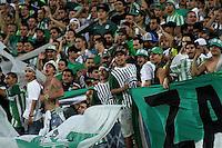 MEDELLÍN -COLOMBIA-20-12-2015. Hinchas  del Atlético Nacional  aleinetan a su equipo durante su encuentro contra el Junior  partido de vuelta de la final de la Liga Aguila II 2015 entre Atlético Nacional y Atlético Junior jugado en el estadio Atanasio Girardot de la ciudad de Medellín. / Fans  of Atletico Nacional cheer their team agianst of Atlético Junior during second leg match of the final of Aguila League II 2015 between Atletico Nacional and Atletico Junior played at Atanasio Girardot stadium in Medellin city. Photo: VizzorImage/ Felipe Caicedo / Staff