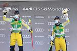 FIS Alpine Ski World Cup - Covid-19 Outbreak -  2nd Men's Super-G event on 18/12/2020 in Val Gardena, Gröden, Italy. In action at the podium, left Aleksander Kilde (NOR) and Kjetil Jansrud (NOR)