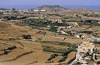 Gozo, Malta.  Countryside and villages from the citadel, Victoria, Rabat.  KEYWORDS  Gozo Malta island Mediterranean  scenery scenic countryside terrain farmland