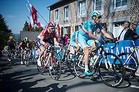 Vincenzo Nibali (ITA/Astana) & Tim Wellens (BEL/Lotto-Soudal) up the infamous Mur de Huy (1300m/9.8%)<br /> <br /> 79th Flèche Wallonne 2015