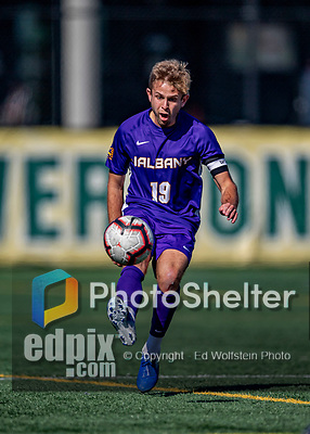 5 October 2019: University at Albany Great Dane Midfielder Reid Conde, a Redshirt Senior from Manchester, VT, in action against the University of Vermont Catamounts at Virtue Field in Burlington, Vermont. The Catamounts fell to the visiting Danes 3-1 in America East, Division 1 play. Mandatory Credit: Ed Wolfstein Photo *** RAW (NEF) Image File Available ***