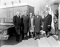 John Diefenbaker - Dissolution des chambres chez le general Vanier<br /> , le 19 avril 1962<br /> <br /> Photographe : Photo Moderne<br /> - Agence Quebec Presse