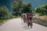 Team BMC (Alessandro De Marchi & Greg Van Avermaet) controlling the peloton's pace up the final climb<br /> <br /> Stage 5: Gstaad > Leukerbad (155km)<br /> 82nd Tour de Suisse 2018 (2.UWT)
