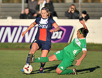 20131211 - HENIN-BEAUMONT , France :  Henin's Charlotte Blanchard pictured tackling on PSG's Lindsey Horan (left)  during the female soccer match between FC Henin Beaumont and Paris Saint-Germain Feminin , of the Ninth matchday in the French First Female Division . Wednesday 11 December 2013. PHOTO DAVID CATRY