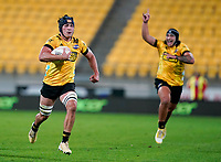 30th April 2021; Wellington, New Zealand;  Hurricanes Brayden Iose gets loose to score his try.  Hurricanes versus  Highlanders, Super Rugby, Sky Stadium, Wellington New Zealand, Friday 30 April 2021.