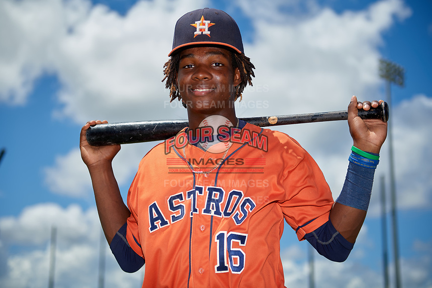GCL Astros Freudis Nova (16) poses for a photo after a game against the GCL Nationals on August 6, 2018 at FITTEAM Ballpark of the Palm Beaches in West Palm Beach, Florida.  GCL Astros defeated GCL Nationals 3-0.  (Mike Janes/Four Seam Images)