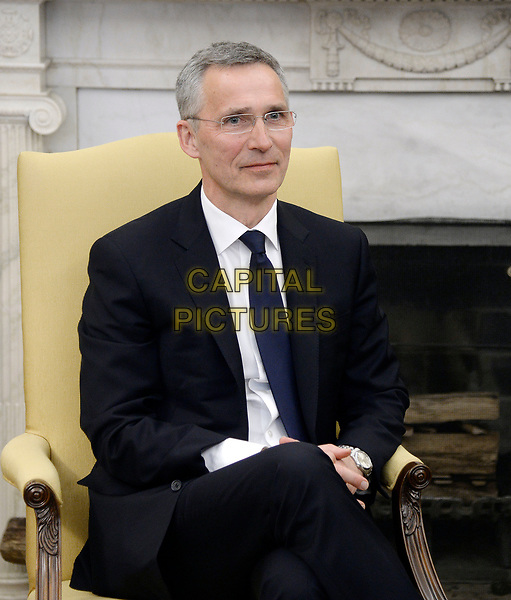 Secretary General Jens Stoltenberg of NATO looks on during a meeting with US President Donald Trump in the Oval Office of the White House in Washington, DC, April 12, 2017.<br /> CAP/MPI/RS<br /> ©RS/MPI/Capital Pictures
