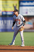 Bowie Baysox second baseman Erick Salcedo (9) during a game against the Harrisburg Senators on May 16, 2017 at FNB Field in Harrisburg, Pennsylvania.  Bowie defeated Harrisburg 6-4.  (Mike Janes/Four Seam Images)