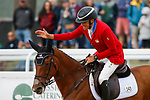 October 17, 2021: Boyd Martin (USA), aboard On Cue, reacts after competing in the Stadium Jumping Final at the 5* level during the Maryland Five-Star at the Fair Hill Special Event Zone in Fair Hill, Maryland on October 17, 2021. Jon Durr/Eclipse Sportswire/CSM