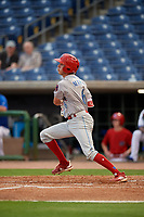 Clearwater Threshers shortstop Nick Maton (6) hits a single during a Florida State League game against the Dunedin Blue Jays on April 4, 2019 at Spectrum Field in Clearwater, Florida.  Dunedin defeated Clearwater 11-1.  (Mike Janes/Four Seam Images)